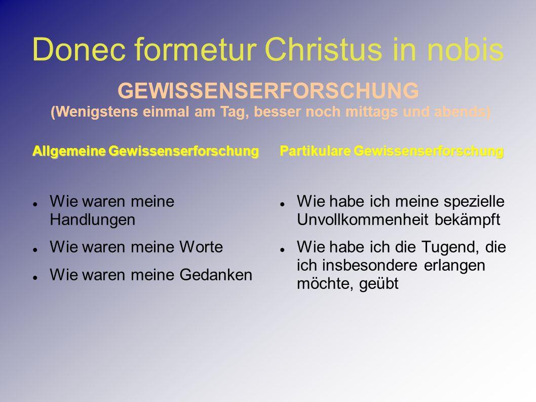 Donec formetur Christus in nobis Allgemeine Gewissenserforschung Wie waren meine Handlungen Wie waren meine Worte Wie waren meine Gedanken Partikulare