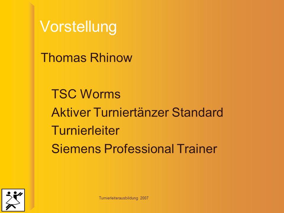 Turnierleiterausbildung 2007 Vorbereitungsphase Planung und Vorbereitung der Veranstaltung.