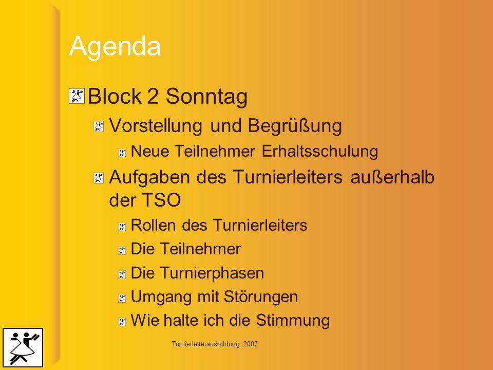 Turnierleiterausbildung 2007 Agenda Block 3 Donnerstag Rhetorik Übungen und Sprache Präsentation/Moderation Übungen Wiederholung Block 2 Wie halte ich die Stimmung