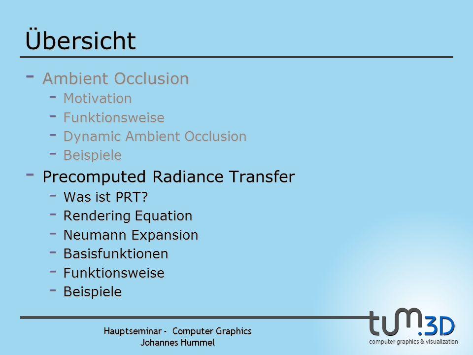 computer graphics & visualization Hauptseminar - Computer Graphics Johannes Hummel Ambient Occlusion – Dynamic AO Beispiel (2) Dynamic Ambient Occlusi