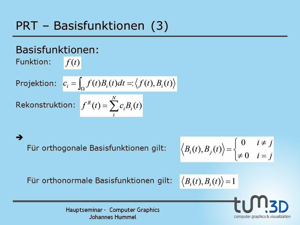 computer graphics & visualization Hauptseminar - Computer Graphics Johannes Hummel PRT – Basisfunktionen (2) Basisfunktionen:Rekonstruktion: Approxima
