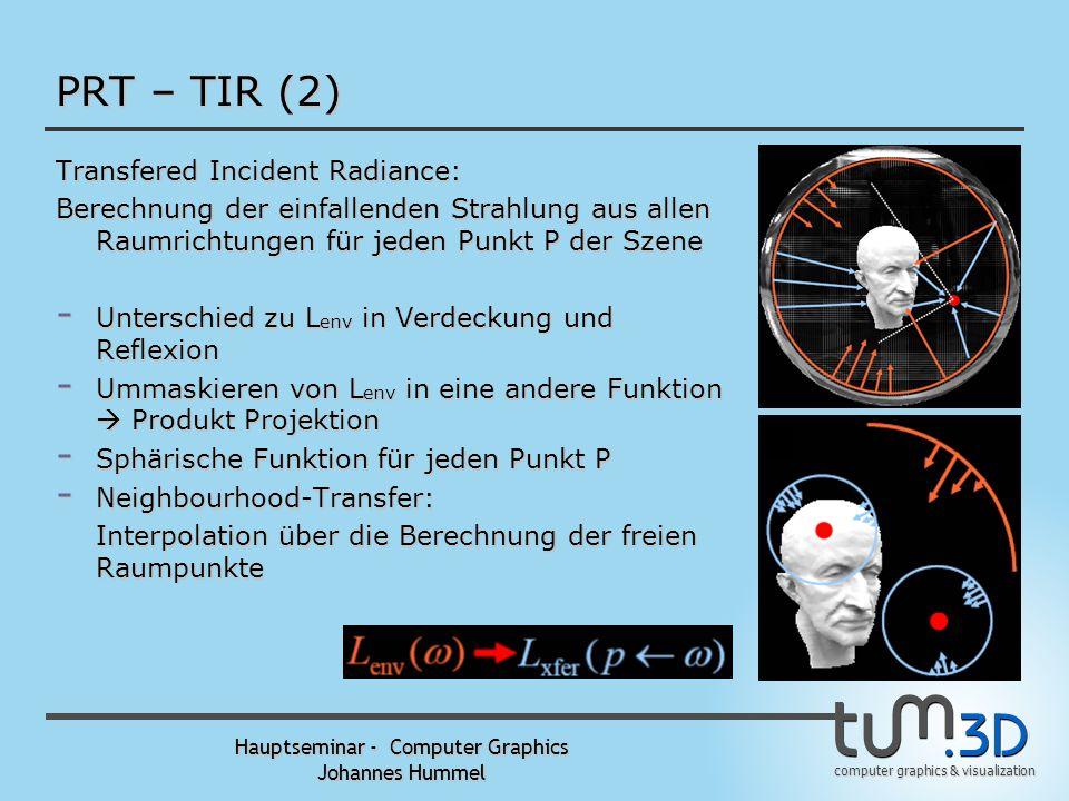 computer graphics & visualization Hauptseminar - Computer Graphics Johannes Hummel PRT – TIR Aber: - Spekulare Effekte - L out Blickrichtungsabhängig
