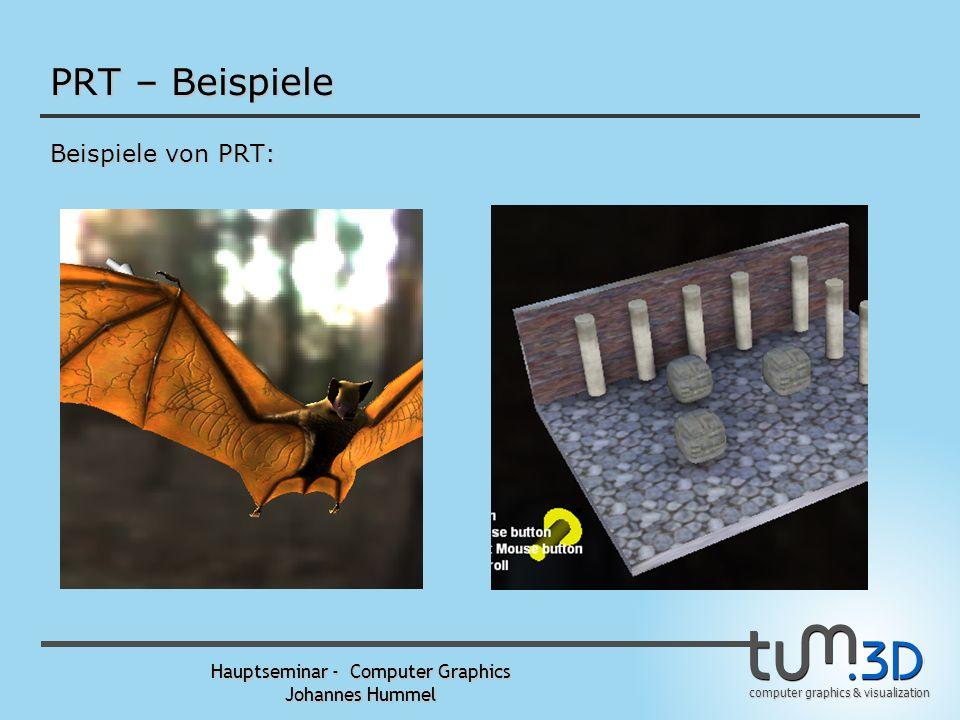 computer graphics & visualization Hauptseminar - Computer Graphics Johannes Hummel PRT – Ablauf Vereinfachter Ablauf: 1. Offline-Berechnung der Transf