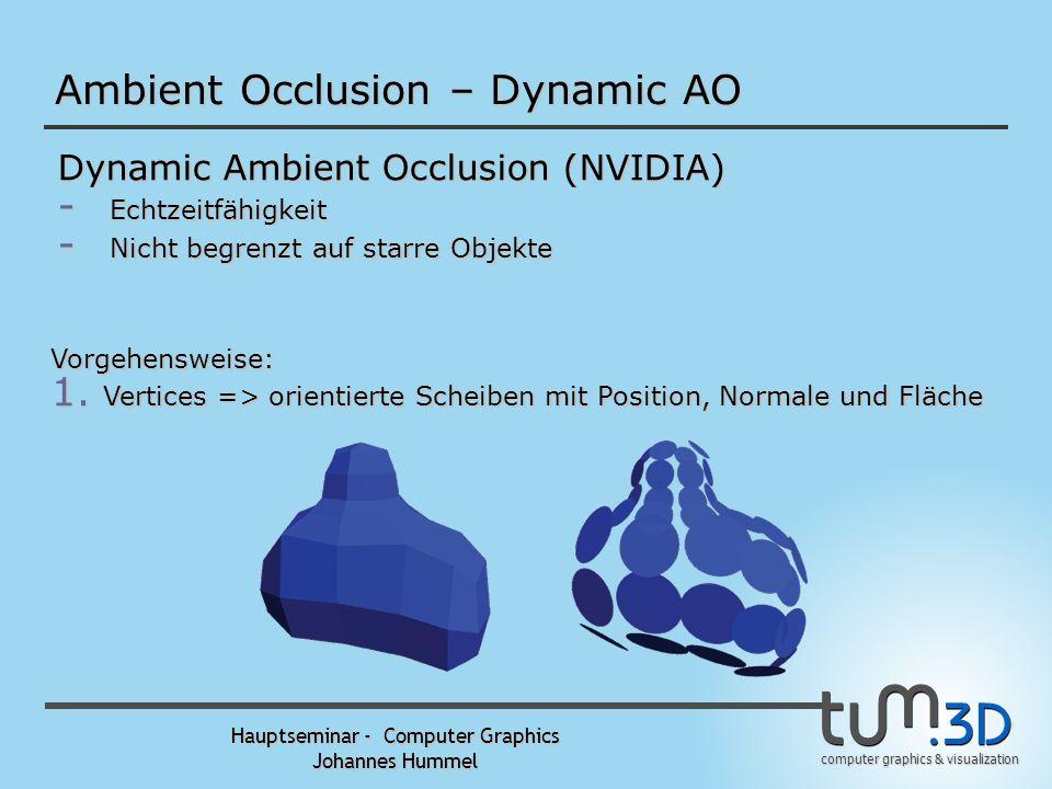 computer graphics & visualization Hauptseminar - Computer Graphics Johannes Hummel Ambient Occlusion – Dynamic AO Dynamic Ambient Occlusion (NVIDIA) - Echtzeitfähigkeit - Nicht begrenzt auf starre Objekte Vorgehensweise: 1.