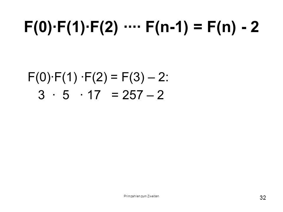 Primzahlen zum Zweiten 32 F(0)F(1)F(2) F(n-1) = F(n) - 2 F(0)F(1) F(2) = F(3) – 2: 3 5 17 = 257 – 2