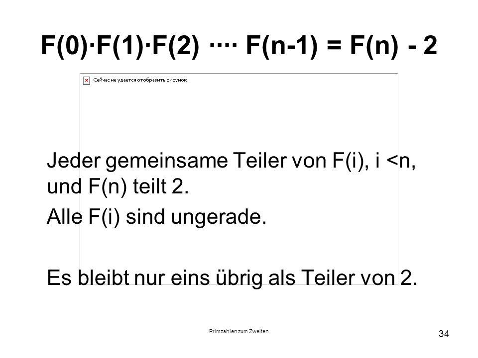Primzahlen zum Zweiten 34 F(0)F(1)F(2) F(n-1) = F(n) - 2 Jeder gemeinsame Teiler von F(i), i <n, und F(n) teilt 2. Alle F(i) sind ungerade. Es bleibt