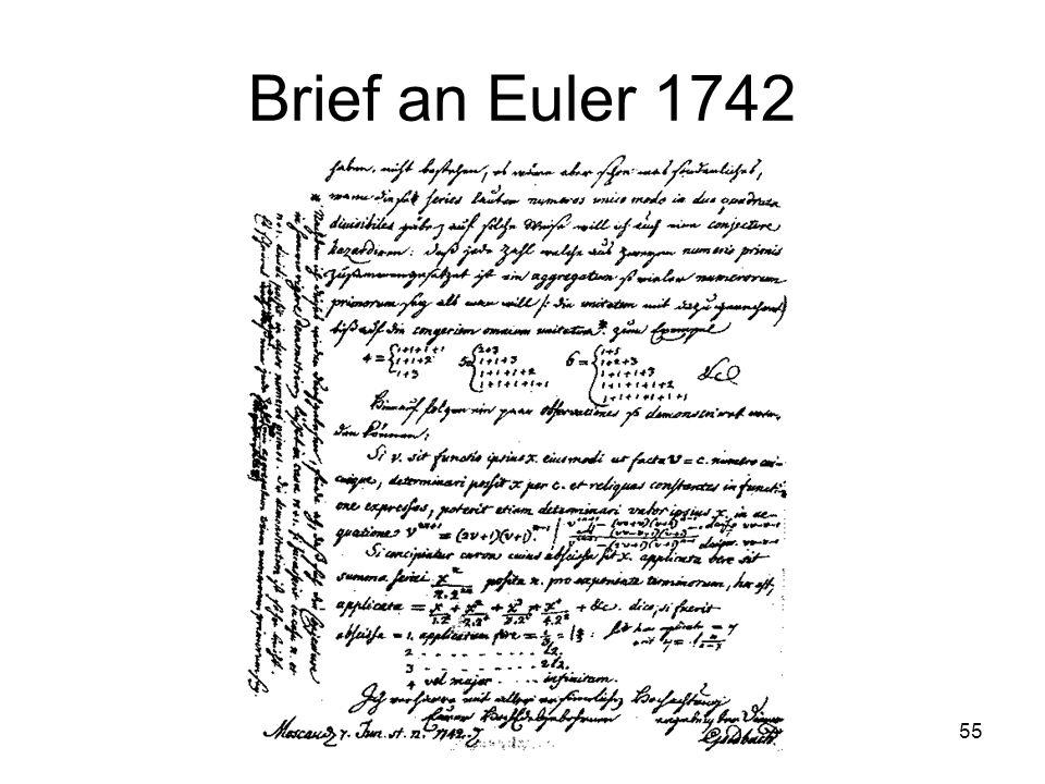 Primzahlen zum Zweiten 55 Brief an Euler 1742