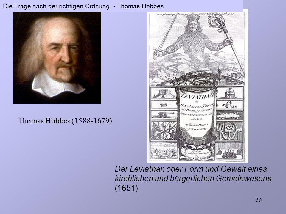 Thomas Hobbes (1588-1679) Das Menschenbild Selbsterhaltung Sicherheit fortwährender Genuss Freundschaft Macht Tod und Leid Unsicherheit Einschränkung