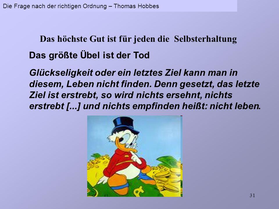 Thomas Hobbes (1588-1679) Der Leviathan oder Form und Gewalt eines kirchlichen und bürgerlichen Gemeinwesens (1651) Die Frage nach der richtigen Ordnu