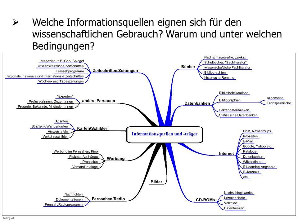5 Welche Informationsquellen eignen sich für den wissenschaftlichen Gebrauch? Warum und unter welchen Bedingungen?