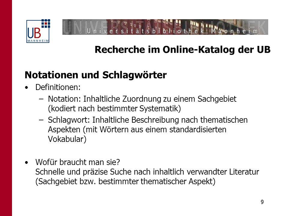 10 Recherche im Online-Katalog der UB Fall 2: Suche nach einem Thema.