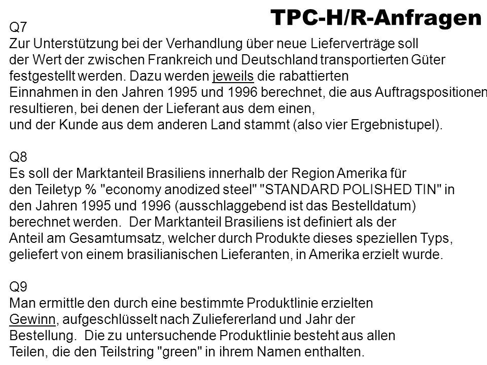 TPC-H/R-Anfragen Q7 Zur Unterstützung bei der Verhandlung über neue Lieferverträge soll der Wert der zwischen Frankreich und Deutschland transportierten Güter festgestellt werden.