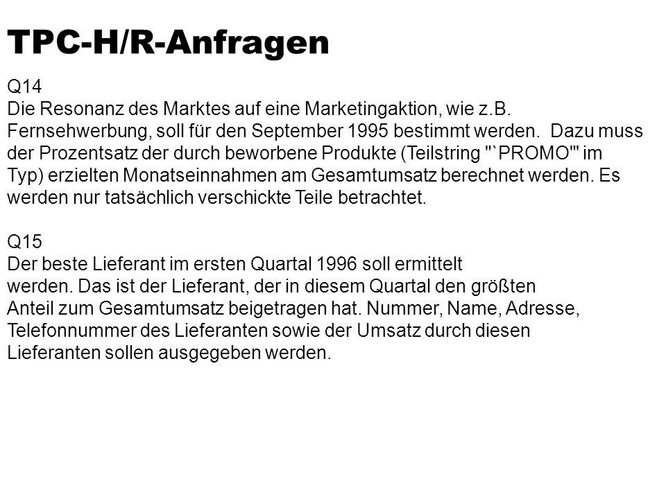 TPC-H/R-Anfragen Q14 Die Resonanz des Marktes auf eine Marketingaktion, wie z.B.