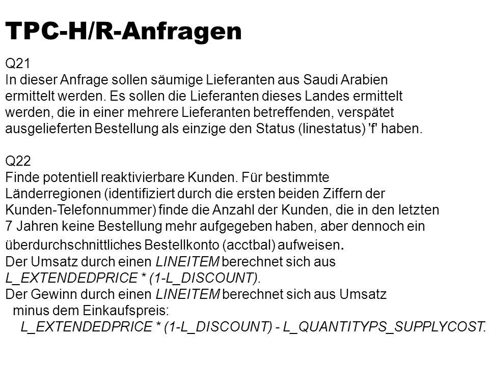 TPC-H/R-Anfragen Q21 In dieser Anfrage sollen säumige Lieferanten aus Saudi Arabien ermittelt werden.