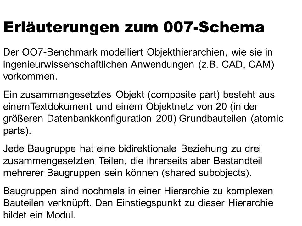 Erläuterungen zum 007-Schema Der OO7-Benchmark modelliert Objekthierarchien, wie sie in ingenieurwissenschaftlichen Anwendungen (z.B.
