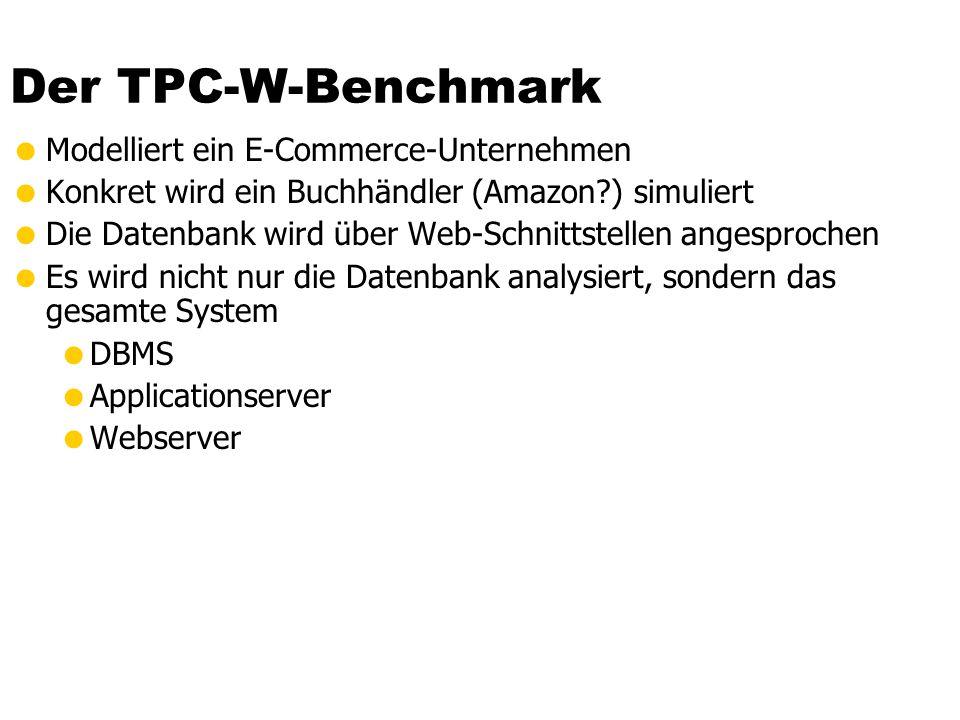 Der TPC-W-Benchmark Modelliert ein E-Commerce-Unternehmen Konkret wird ein Buchhändler (Amazon?) simuliert Die Datenbank wird über Web-Schnittstellen angesprochen Es wird nicht nur die Datenbank analysiert, sondern das gesamte System DBMS Applicationserver Webserver
