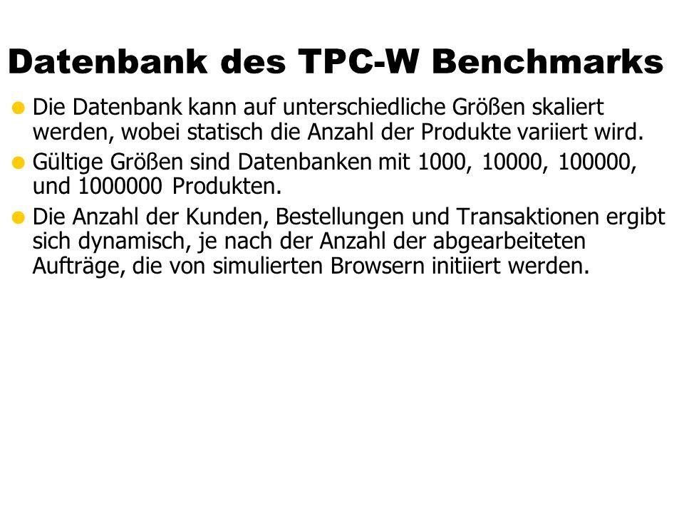 Datenbank des TPC-W Benchmarks Die Datenbank kann auf unterschiedliche Größen skaliert werden, wobei statisch die Anzahl der Produkte variiert wird.