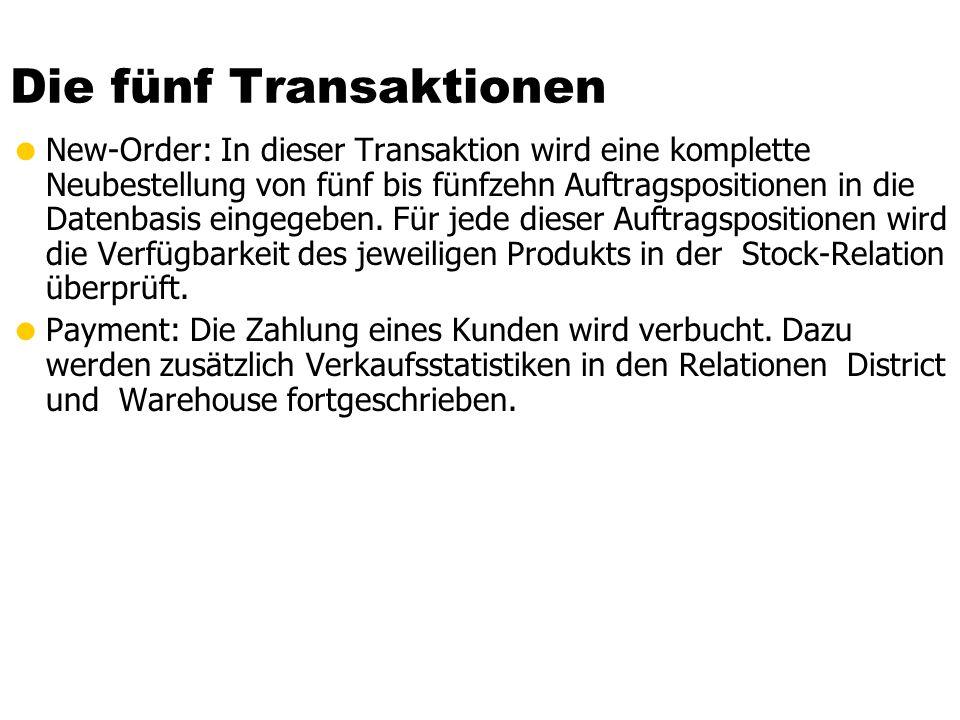Die fünf Transaktionen New-Order: In dieser Transaktion wird eine komplette Neubestellung von fünf bis fünfzehn Auftragspositionen in die Datenbasis eingegeben.