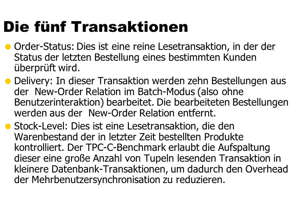 Die fünf Transaktionen Order-Status: Dies ist eine reine Lesetransaktion, in der der Status der letzten Bestellung eines bestimmten Kunden überprüft wird.