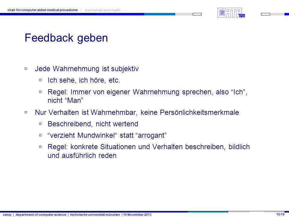 camp | department of computer science | technische universität münchen | 10 November 2013 15/19 chair for computer aided medical procedures | wwwnavab.cs.tum.edu Feedback geben Jede Wahrnehmung ist subjektiv Ich sehe, ich höre, etc.