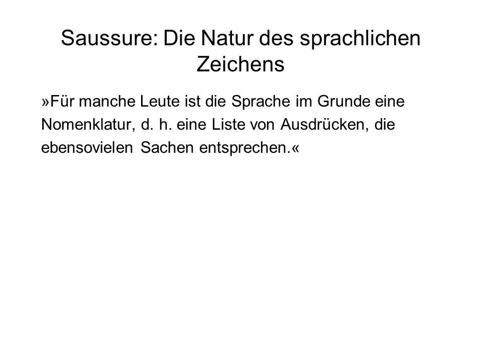 Saussure: Die Natur des sprachlichen Zeichens »Für manche Leute ist die Sprache im Grunde eine Nomenklatur, d. h. eine Liste von Ausdrücken, die ebens