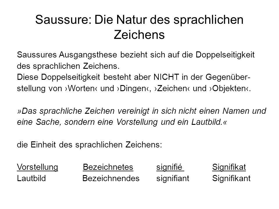 Saussure: Die Natur des sprachlichen Zeichens Saussures Ausgangsthese bezieht sich auf die Doppelseitigkeit des sprachlichen Zeichens. Diese Doppelsei