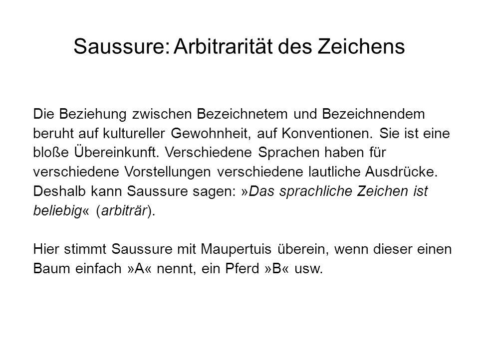 Saussure: Arbitrarität des Zeichens Die Beziehung zwischen Bezeichnetem und Bezeichnendem beruht auf kultureller Gewohnheit, auf Konventionen. Sie ist