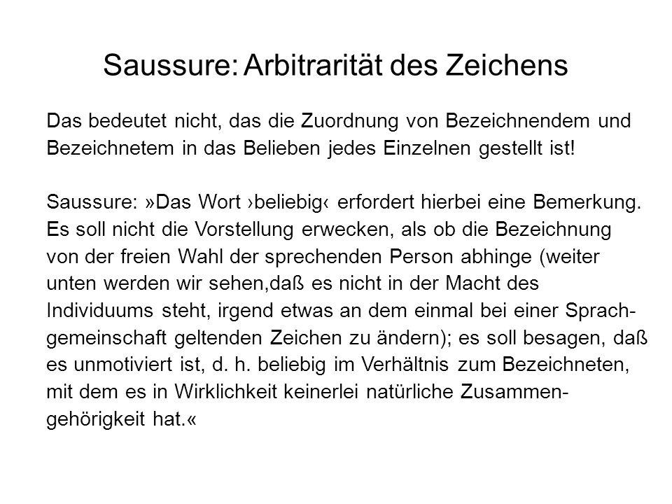 Saussure: Arbitrarität des Zeichens Das bedeutet nicht, das die Zuordnung von Bezeichnendem und Bezeichnetem in das Belieben jedes Einzelnen gestellt