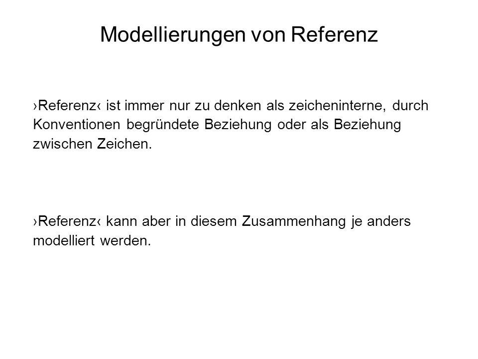 Modellierungen von Referenz Referenz ist immer nur zu denken als zeicheninterne, durch Konventionen begründete Beziehung oder als Beziehung zwischen Z