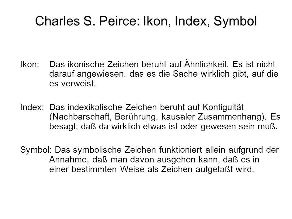 Charles S. Peirce: Ikon, Index, Symbol Ikon: Das ikonische Zeichen beruht auf Ähnlichkeit. Es ist nicht darauf angewiesen, das es die Sache wirklich g