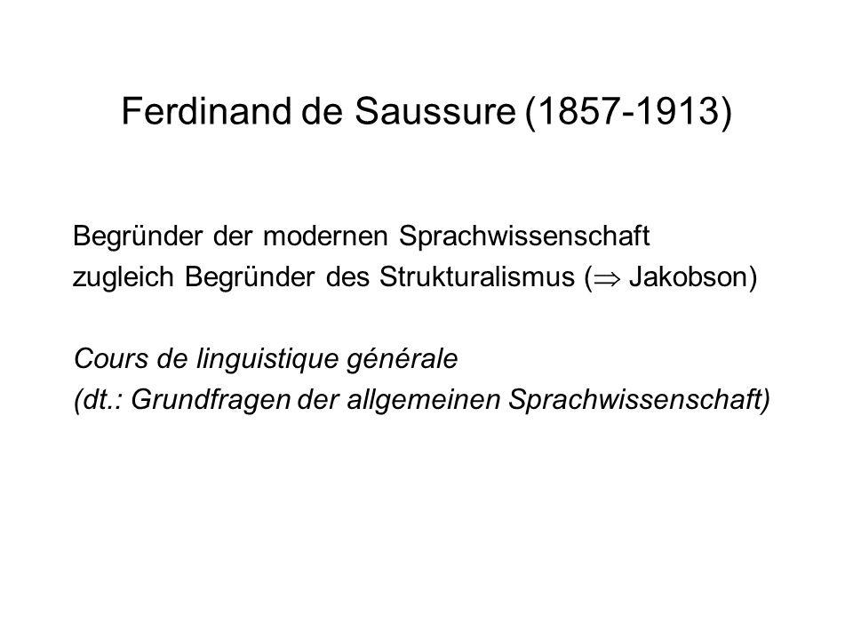 Ferdinand de Saussure (1857-1913) Begründer der modernen Sprachwissenschaft zugleich Begründer des Strukturalismus ( Jakobson) Cours de linguistique g