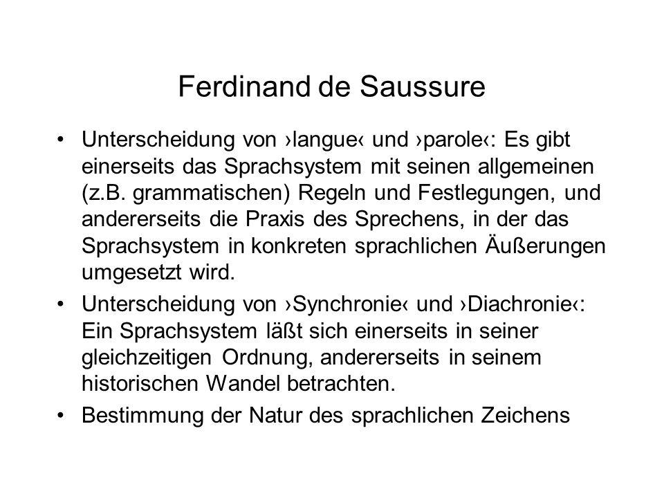 Ferdinand de Saussure Unterscheidung von langue und parole: Es gibt einerseits das Sprachsystem mit seinen allgemeinen (z.B. grammatischen) Regeln und