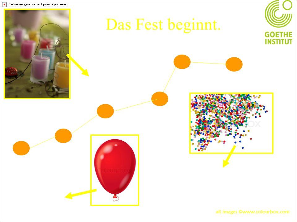 Das Fest beginnt. Das Konfetti Der Luftballon Die Kerze all images ©www.colourbox.com
