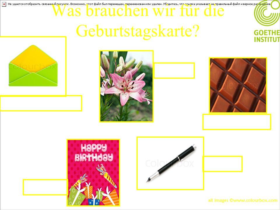 Was brauchen wir für die Geburtstagskarte? Die Karte Die Lilie Der Briefumschlag Die Schokolade Der Stift all images ©www.colourbox.com