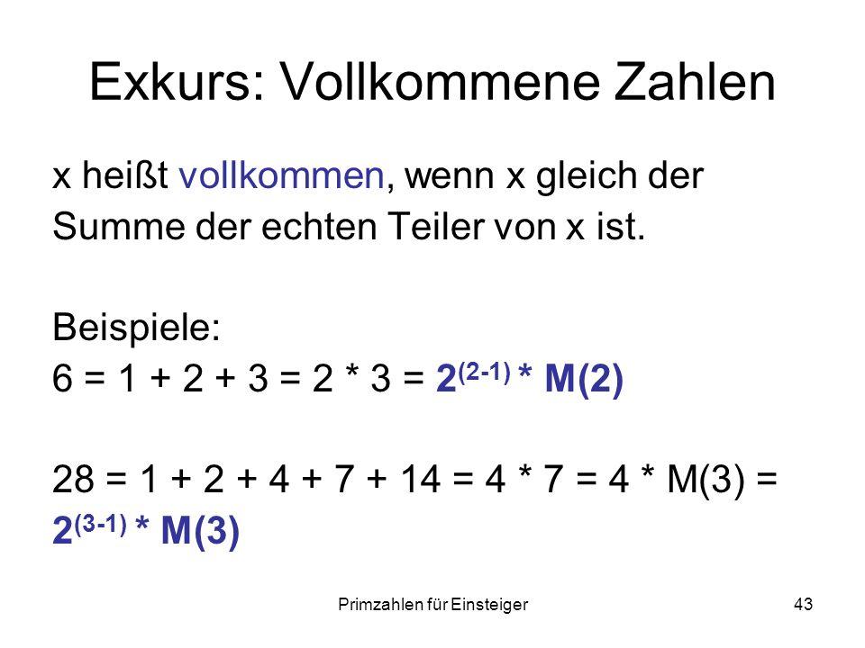 Primzahlen für Einsteiger43 Exkurs: Vollkommene Zahlen x heißt vollkommen, wenn x gleich der Summe der echten Teiler von x ist. Beispiele: 6 = 1 + 2 +