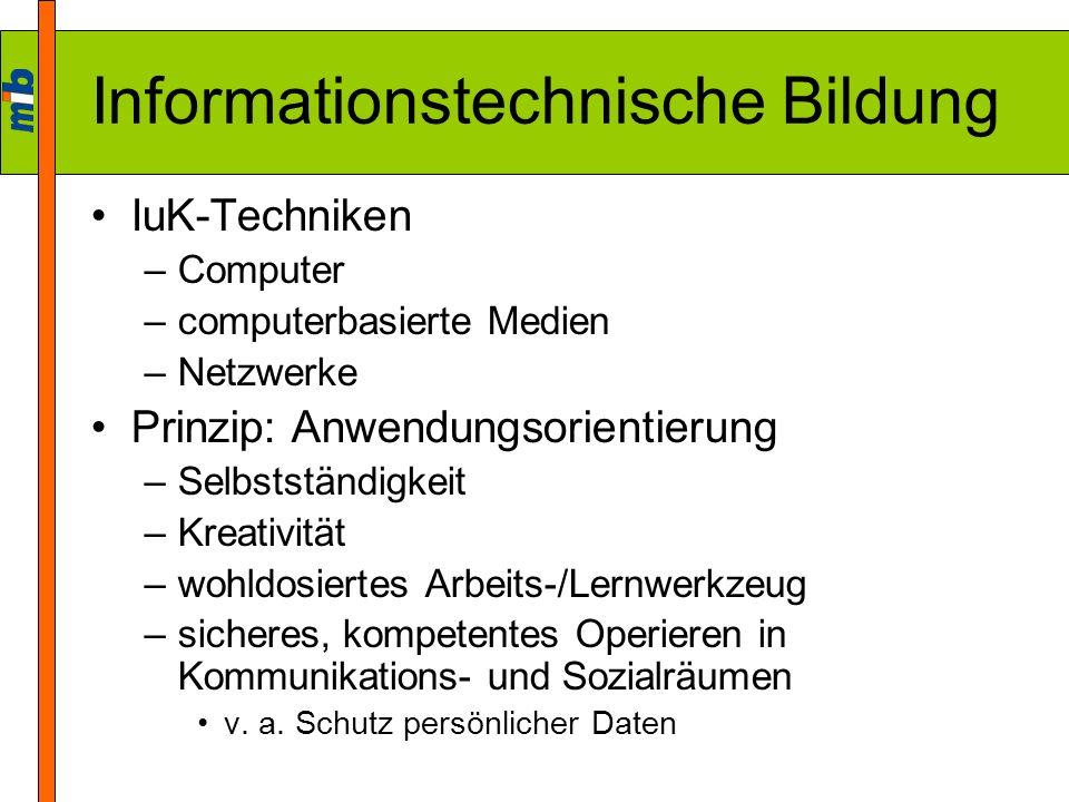 Informationstechnische Bildung IuK-Techniken –Computer –computerbasierte Medien –Netzwerke Prinzip: Anwendungsorientierung –Selbstständigkeit –Kreativ