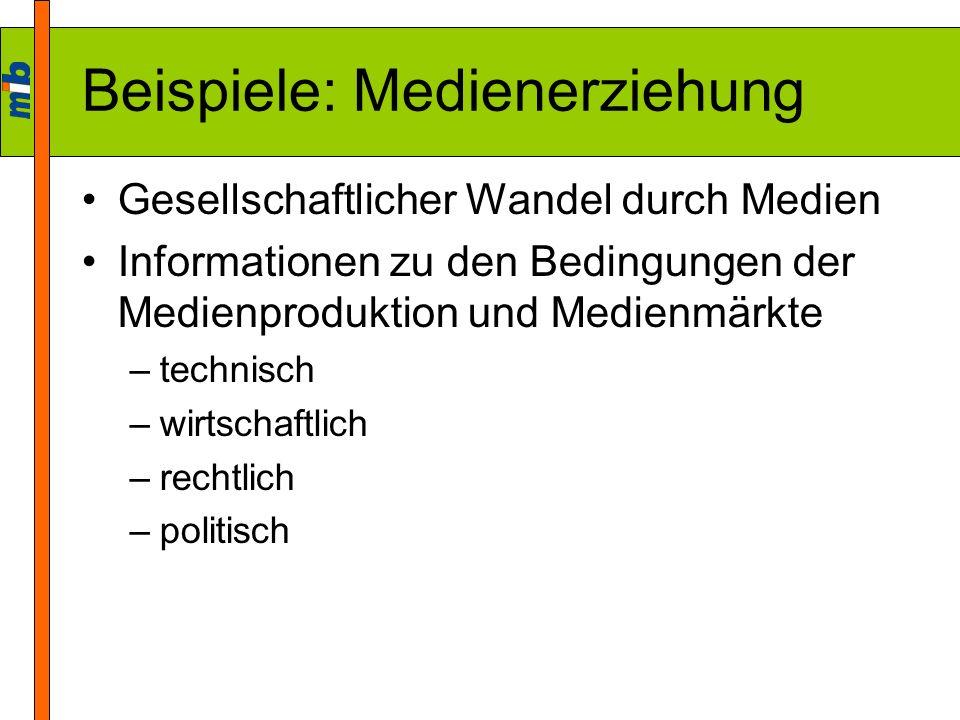 Beispiele: Medienerziehung Gesellschaftlicher Wandel durch Medien Informationen zu den Bedingungen der Medienproduktion und Medienmärkte –technisch –w