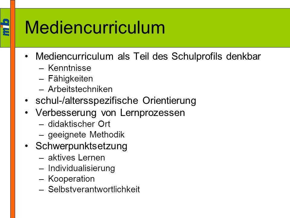 Mediencurriculum Mediencurriculum als Teil des Schulprofils denkbar –Kenntnisse –Fähigkeiten –Arbeitstechniken schul-/altersspezifische Orientierung V