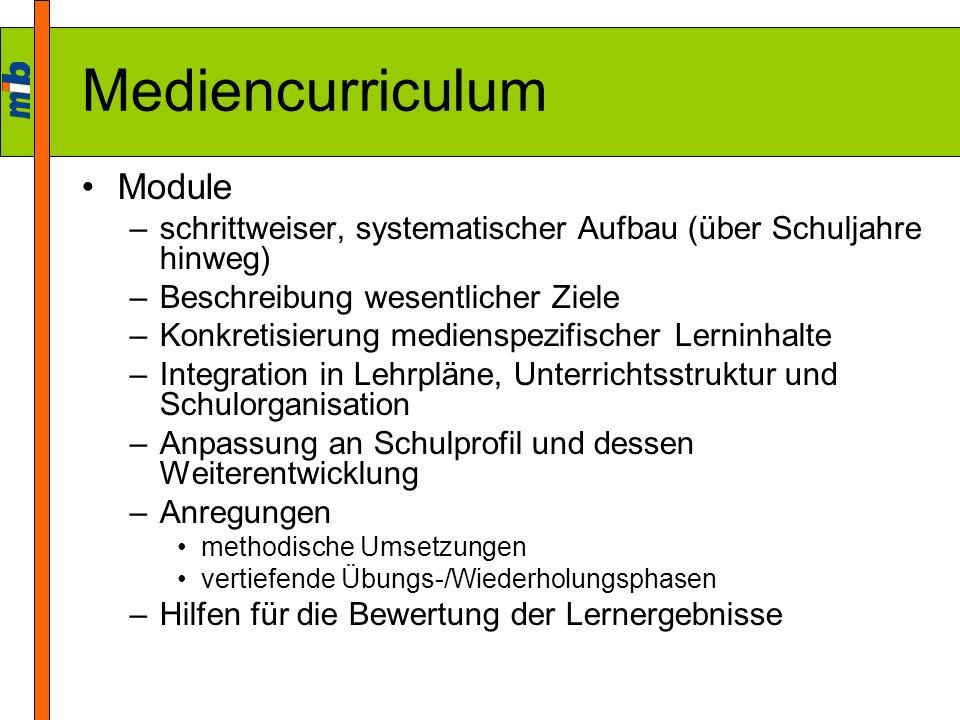 Mediencurriculum Module –schrittweiser, systematischer Aufbau (über Schuljahre hinweg) –Beschreibung wesentlicher Ziele –Konkretisierung medienspezifi