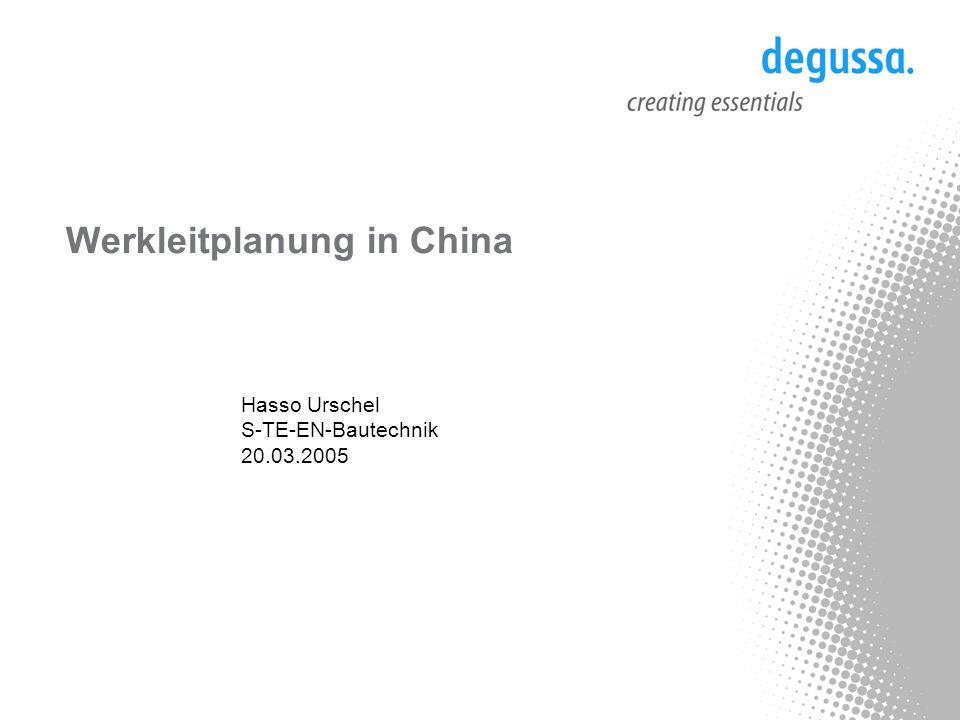 Process Technology & Engineering S-TE-EN-B, H.Urschel /St2 Degussa (China) Co., Ltd.