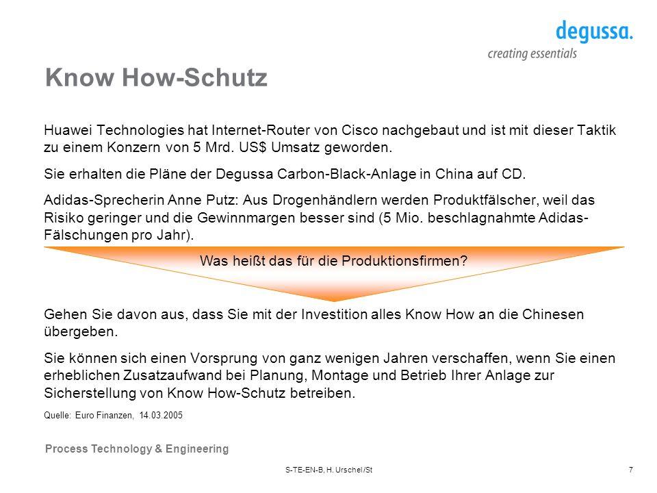 Process Technology & Engineering S-TE-EN-B, H. Urschel /St18 Baubude in China