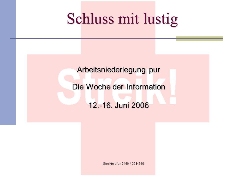 Streiktelefon 0160 / 2214946 Schluss mit lustig Arbeitsniederlegung pur Die Woche der Information 12.-16. Juni 2006