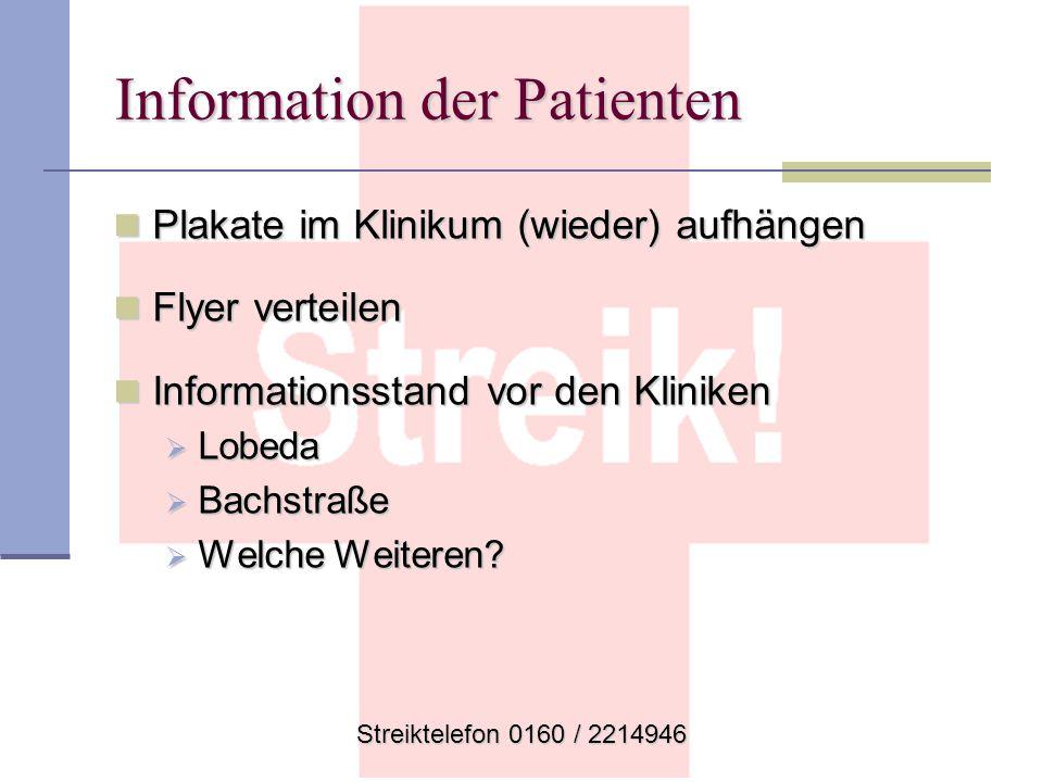 Streiktelefon 0160 / 2214946 Information der Patienten Plakate im Klinikum (wieder) aufhängen Plakate im Klinikum (wieder) aufhängen Flyer verteilen F