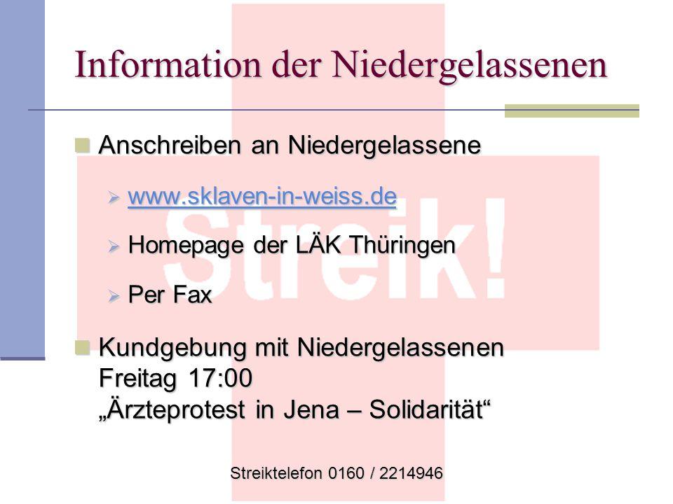 Streiktelefon 0160 / 2214946 Information der Niedergelassenen Anschreiben an Niedergelassene Anschreiben an Niedergelassene www.sklaven-in-weiss.de ww
