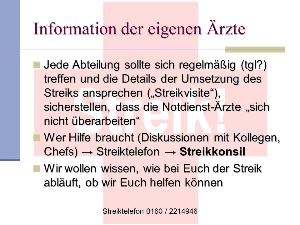 Streiktelefon 0160 / 2214946 Information der eigenen Ärzte Jede Abteilung sollte sich regelmäßig (tgl?) treffen und die Details der Umsetzung des Stre