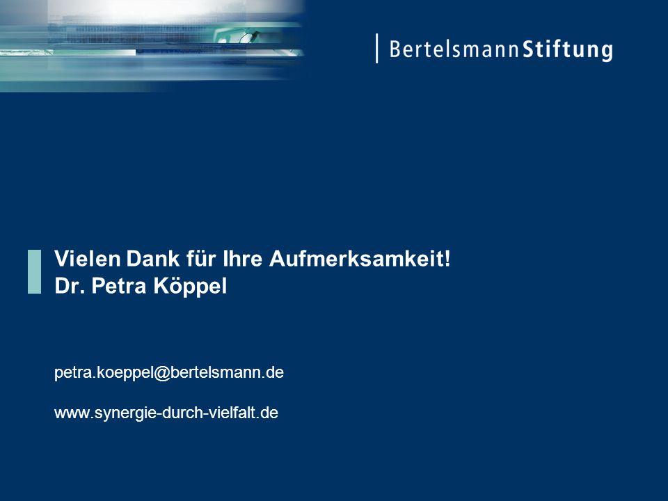 Vielen Dank für Ihre Aufmerksamkeit! Dr. Petra Köppel petra.koeppel@bertelsmann.de www.synergie-durch-vielfalt.de