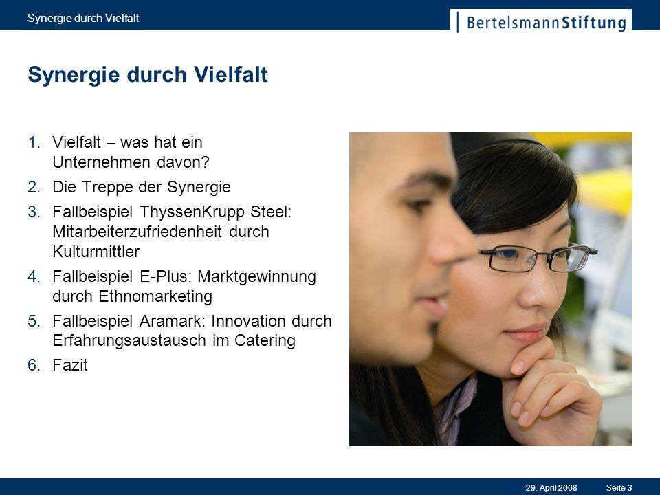 29. April 2008 Synergie durch Vielfalt Seite 3 1.Vielfalt – was hat ein Unternehmen davon? 2.Die Treppe der Synergie 3.Fallbeispiel ThyssenKrupp Steel