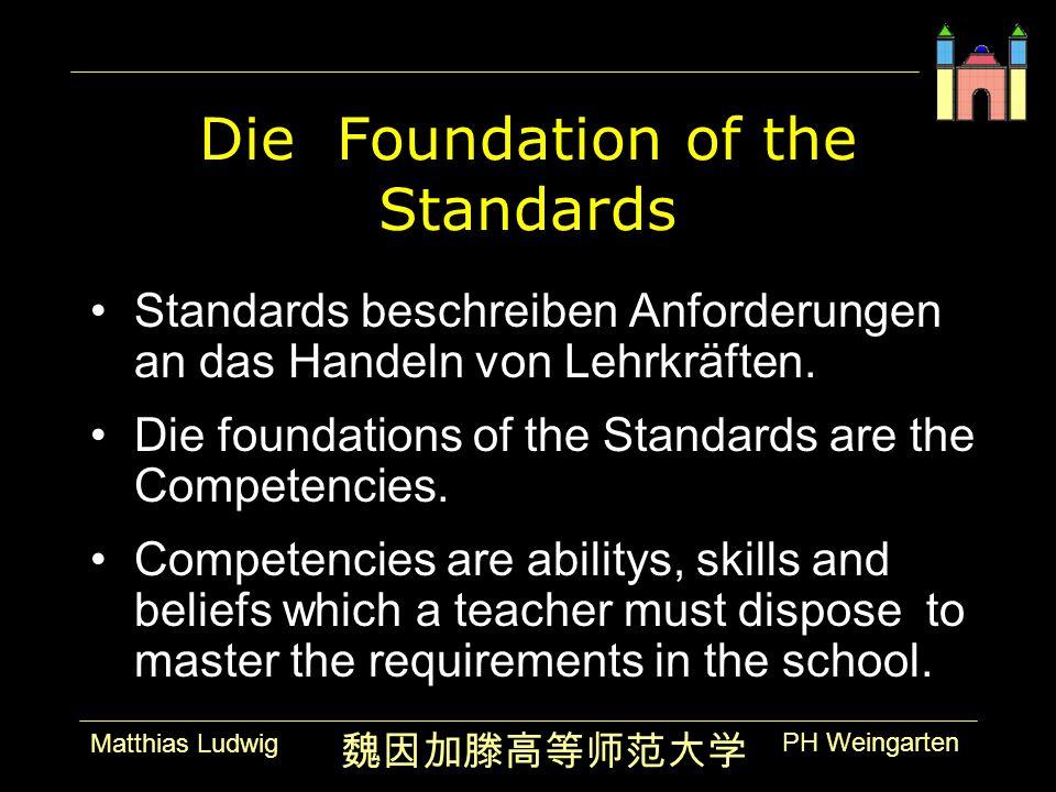 PH Weingarten Matthias Ludwig Die Foundation of the Standards Standards beschreiben Anforderungen an das Handeln von Lehrkräften.