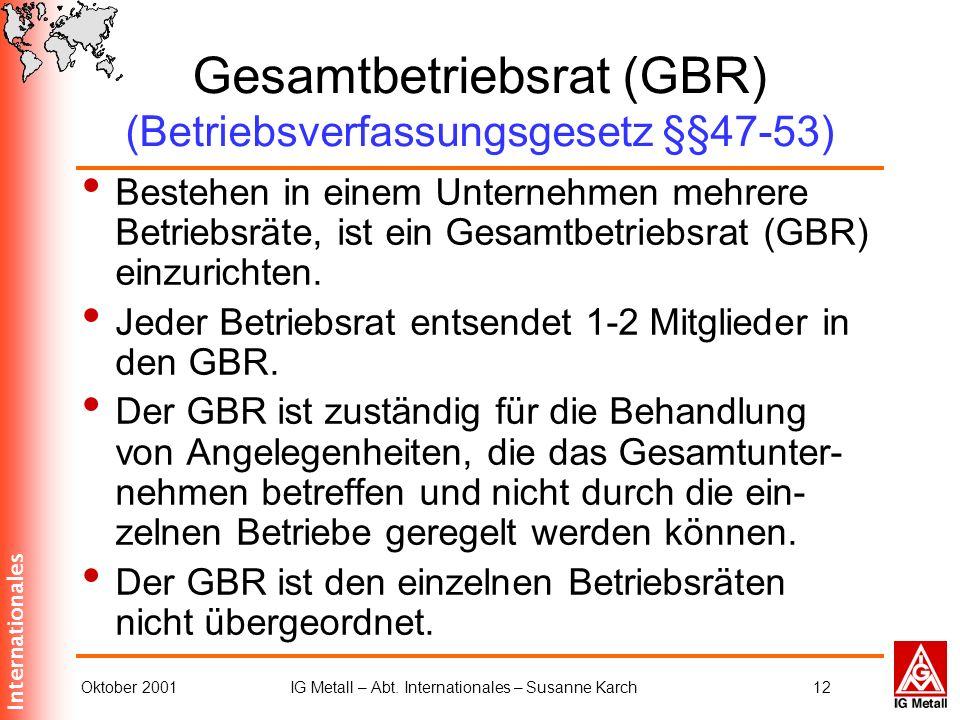 Internationales Oktober 2001IG Metall – Abt. Internationales – Susanne Karch12 Gesamtbetriebsrat (GBR) (Betriebsverfassungsgesetz §§47-53) Bestehen in