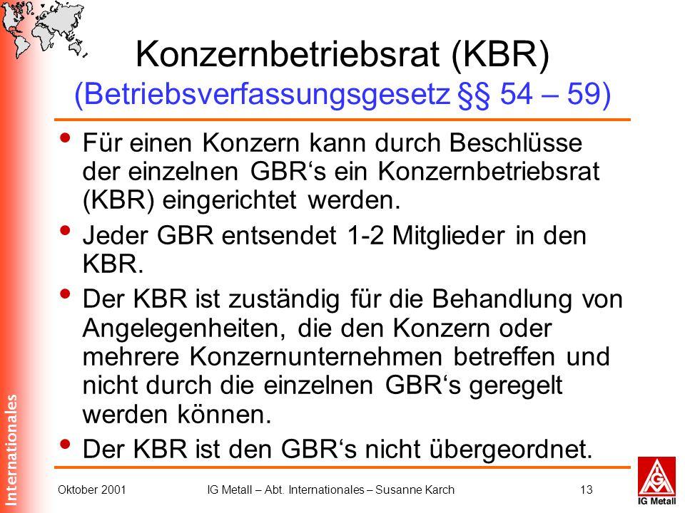 Internationales Oktober 2001IG Metall – Abt. Internationales – Susanne Karch13 Konzernbetriebsrat (KBR) (Betriebsverfassungsgesetz §§ 54 – 59) Für ein